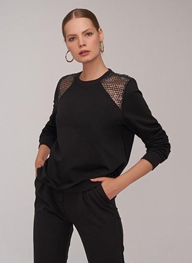 People By Fabrika Omuz Detaylı Sweatshirt Siyah